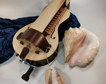 "Hurdy gurdy./Ukrainian diatonic  hurdy gurdy- model ""Anastasiia""-brown/ 3 strings/ 12 keys/ Lyre/Hurdy-gurdy.Drehleier.Lira. Lire."