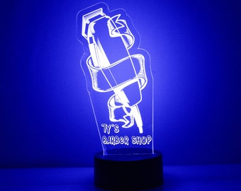 Barber Shop Clippers Night Light, Personalized Free, LED Night Lamp, With Remote Control, Engraved Gift, 16 Color Change