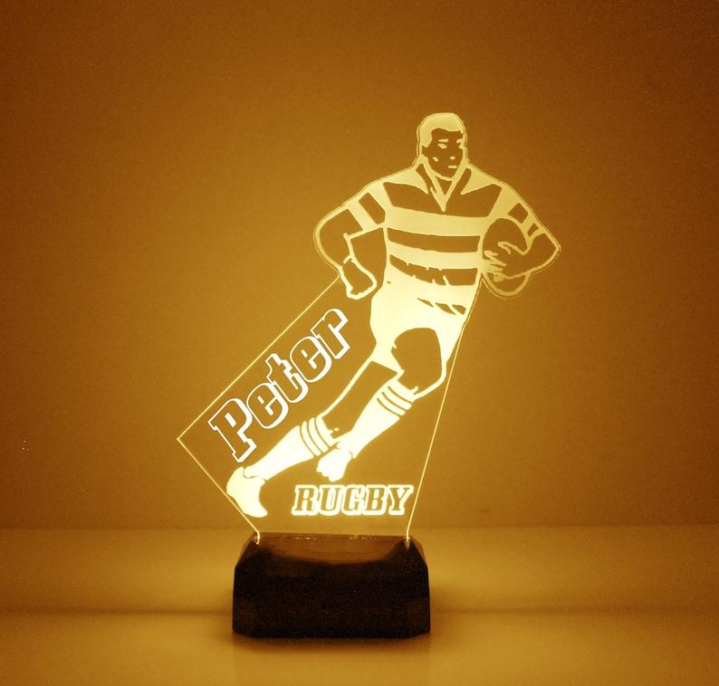 Rugby Player Luce notturna Personalizzato gratuito LED 3Pyf7SwR