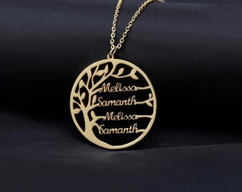 Family chain name chain family tree | 925 Silver 14K Gold Tree of Life Necklace | up to 4 desired names pendants