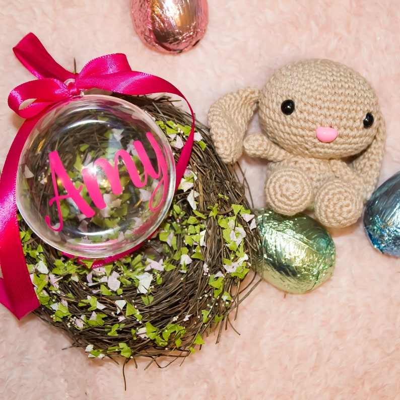 Custom Easter Bauble with Bunny Amigurumi Personalized Bauble Custom Easter Bauble