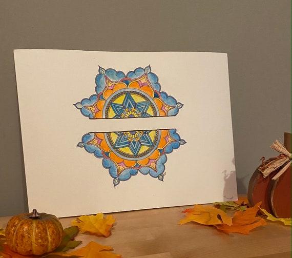 Divided, But Equal - Watercolor Art, Bright Watercolor Painting, Flower Mandala, Original Wall Art, Original Painting by Kansas Girl Studio