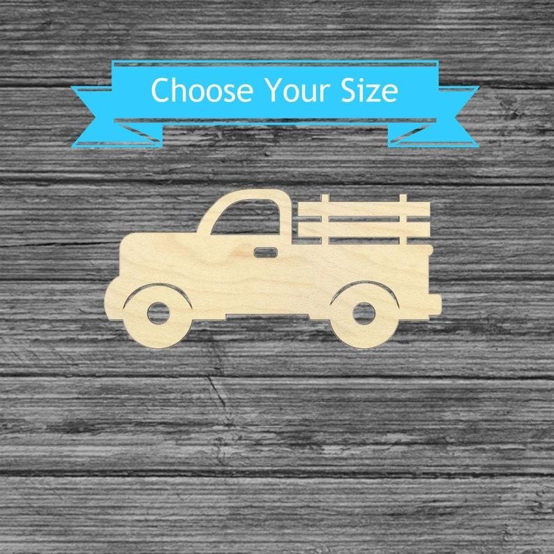 Laser Cut Pickup Farm Truck Wood Cutout Multiple Sizes Wood Craft Blanks