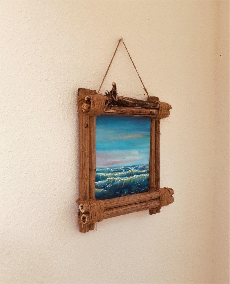 Wall Art,Canvas Wall Art,Original Painting,Seascape Painting,Framed Wall Art,Coastal Art,Rustic Frame,Beach Art