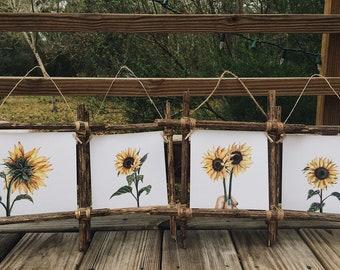 Wood Collage Kit, Frame Set,4x6 Frame,5x7 Frame,Collage Frames,Rustic Frames,Rustic Frame Collage,Driftwood Frames,Sunflower art