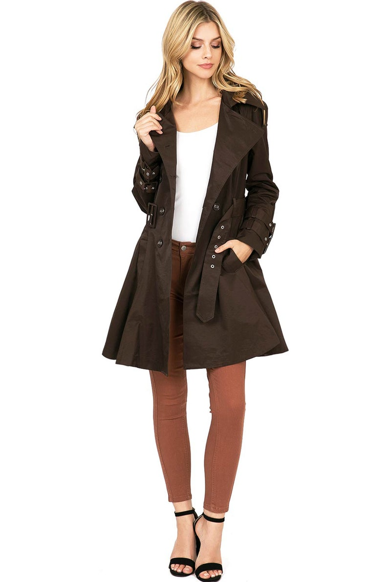 Vintage Brown Trench Double-Breasted Coat Medium Length Overwrap Jacket with Pleated Skirt Bottom an Belt Layering Dress