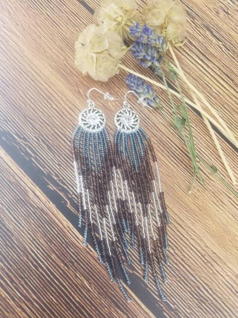 Dangle Beaded Earrings Long Beaded Earrings Beaded Earrings with charm Seed Bead Earrings