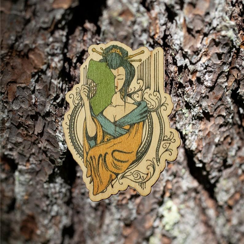 Maple Wood Geisha Wooden Sticker
