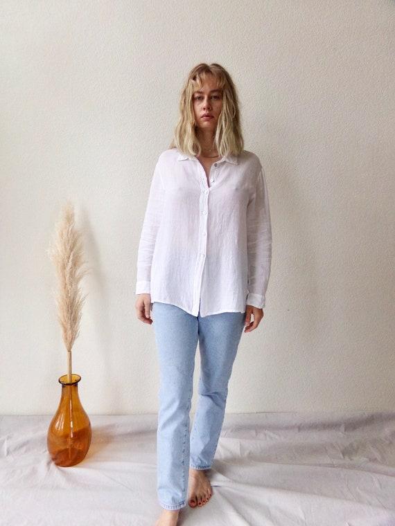 Vtg. White Linen Blouse