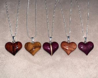 Bubinga Purpleheart Exotic Wood Pendant Padauk Handmade Jewelry