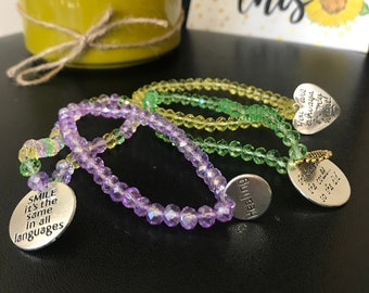Inspirational Quote Bracelets Calming Anxiety Relief Charm Bracelets for the Elastic Band Technique! Charm Bracelet