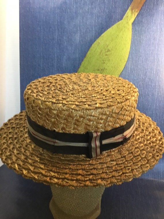 1930s men's straw Boater hat