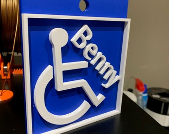 Customizable 3D Printed Handicap Sign for Stroller Custom Handicap Tag Custom Handicap Sign Stroller as Wheelchair Tag Handicap Stroller Tag