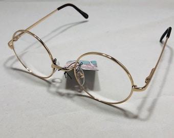 "Lot 3 Vtg Craft Doll Making Eye Glasses 3/"" Miniature Gold Metal Wire Rim Santa"