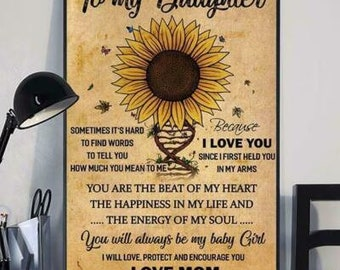 Sunflower To My Beautiful Daughter Today/'s Good Day Portrait Canvas .75in Frame