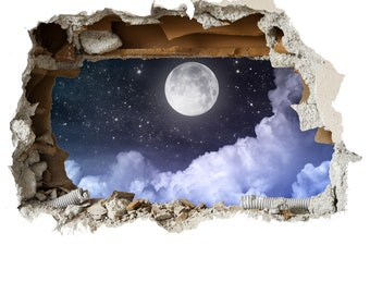 Full Moon Wall Smash Decal Childrens Wall Stickers Bedroom Wall Art 4 Size