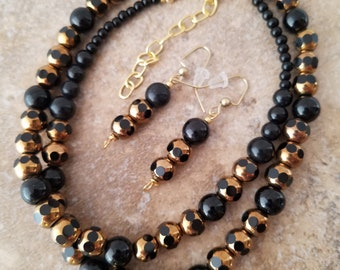 """Classic, Beaded Black and Gold Necklace, Woman's 20"""" Necklace, Natural Onyx and Glass. Lobster Clasp, Matching earrings"""