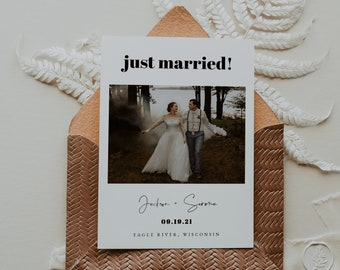 Elopement Announcement Card Wedding Announcement Marriage Announcement Newlyweds Just Married Gay Wedding Photo Card Gay Couple