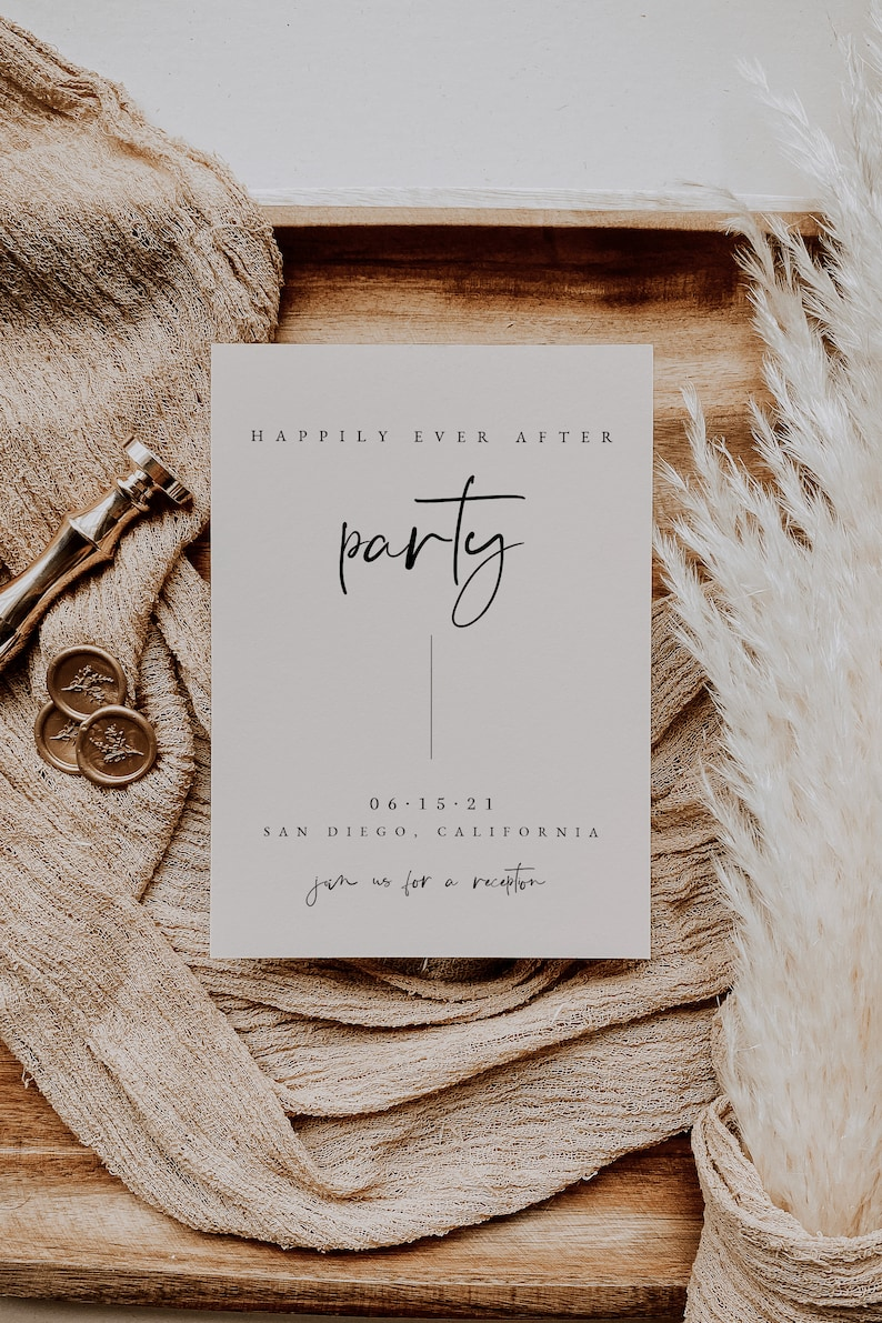 Happily Ever After Party Invitation \u2014 We Eloped Card \u2014 Printable Elopement Reception Invitation \u2014 Elopement Announcement \u2014 Wedding Reception