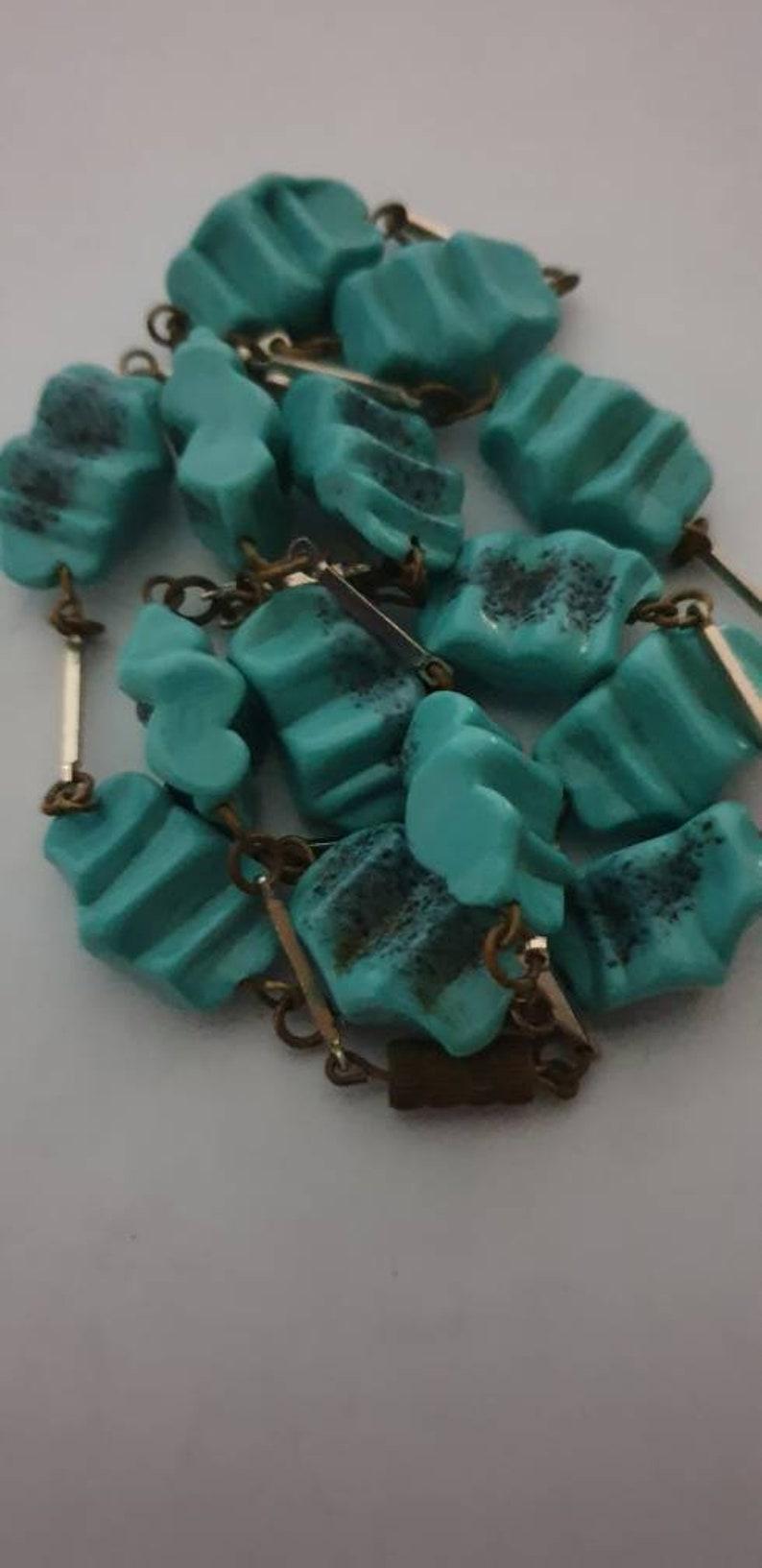 Vintage art deco rare exclusive design turquoise necklace.