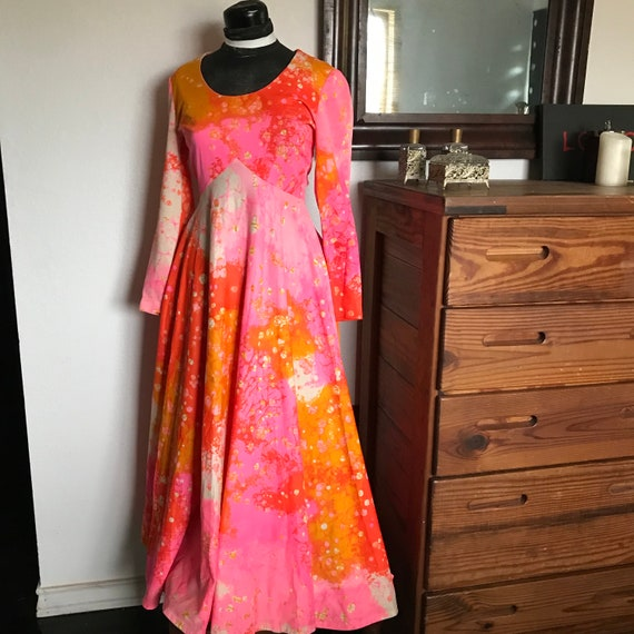 Stunning Psychedelic 70s Maxi Dress