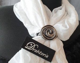 DRAHTORIA Cloth holder scarf holder in aluminium wire black silver anthracite scarf clip