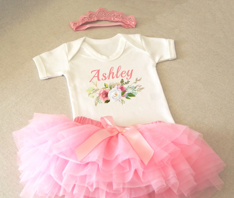 Baby Girl Photo Outfit With Name Baby Girl Outfit with Headband Outfit for Pictures Outfit for Photoshoot Personalized