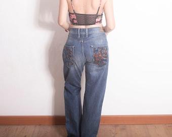 90s PEPE JEANS Blue Denim New York City Hip Hop Bottoms 1990s Vintage Pepe Jeans Denim Trouser Pants 90s Clothing Hypebeast