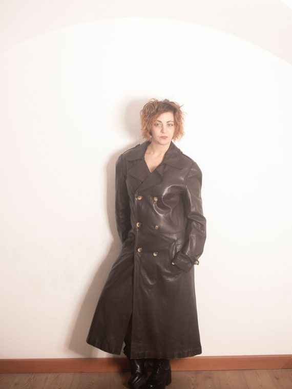 80s leather trench