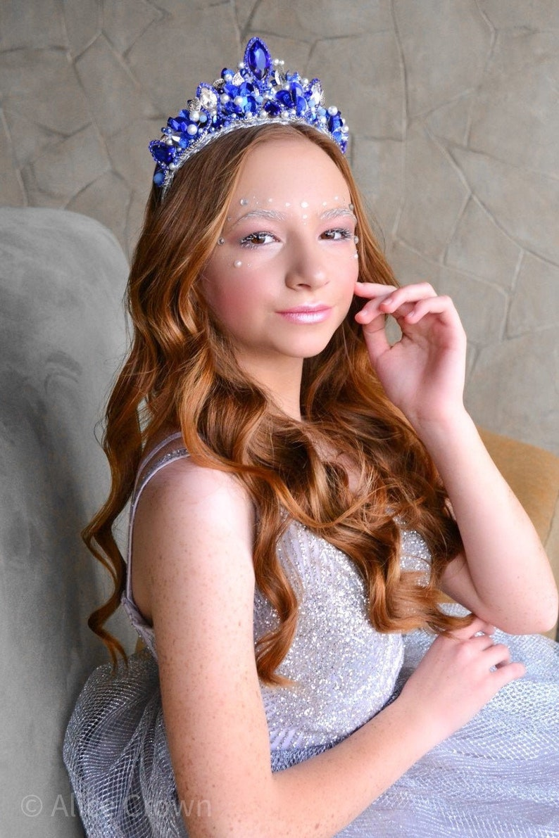 Children/'s crown dauther little ballerina tiara turquoise crown for girl prom tiara blue crown ballet for dancer tale crown for princess