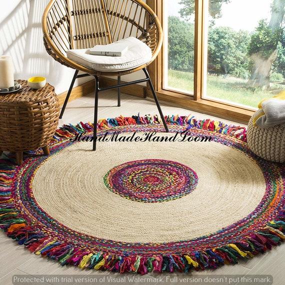 Handmade Carpet Area Bohemian Natural Cotton Rug Indian Yoga Mat Dhurrie Rag Rug