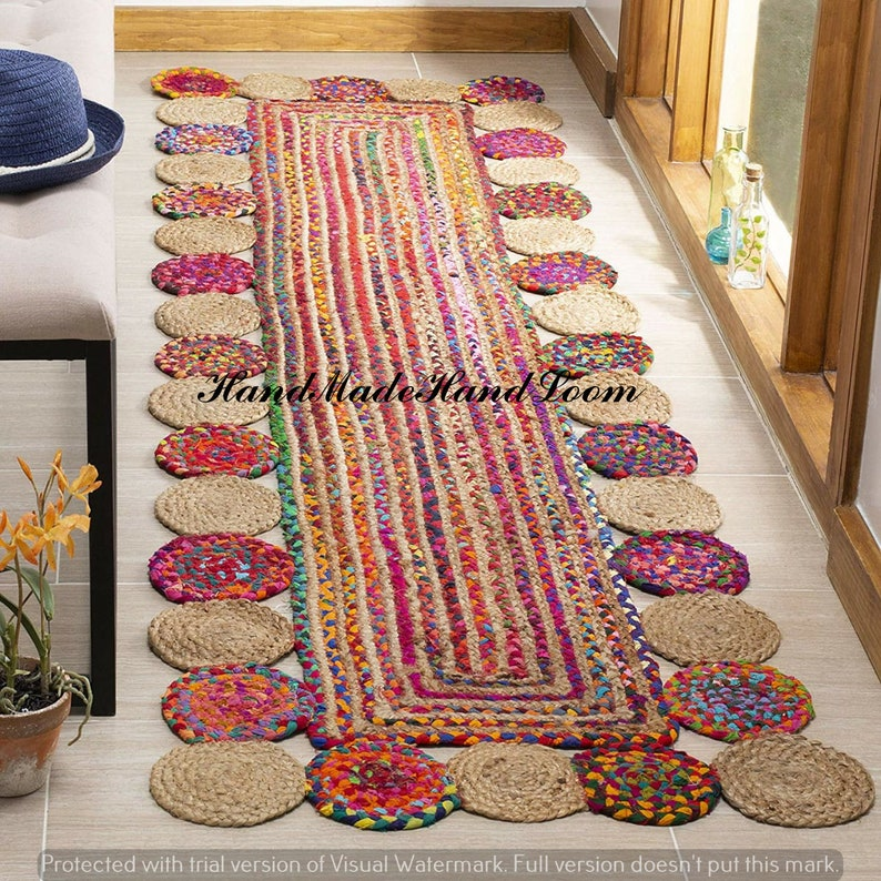 Bohemian Decor Area Rug Tapish Floor Braided Runner Natural image 0