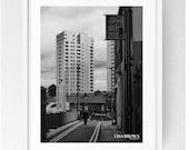 Short Walk to Avenham, Large Wall Art Print, Preston, Prestonian, Black and White, Urban Print, Cityscape, Iconic, Avenham Flats