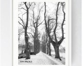 Avenham Park Riverside Walk in the snow, Avenham Park, Large Wall Art Print, Print, Preston, Prestonian, Black and White, Avenham Park Print