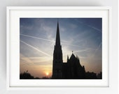 Sunset Behind St Walburge's, Large Wall Art Print, Preston, Prestonian, Colour, Sunset, St Walburge's Church, Iconic,
