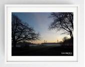 Preston North End, Misty sunrise over PNE, Large Wall Art Print, Preston, Prestonian, Colour, PNE, Deepdale