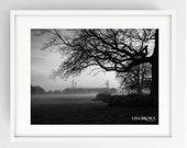 Preston North End,PNE, Deepdale, Black and White, Monochrome, Large Wall Art Print, Preston, Prestonian, Winter sunrise over PNE.