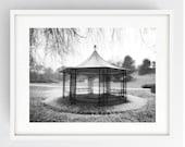 Rose Pagoda in the snow, Miller Park, Large Wall Art Print, Preston, Prestonian, Black and White, Winter, Avenham and Miller Park,