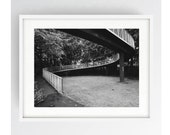 Sky Walkway, Black and White, Monochrome, Large Wall Art Print, Preston, Prestonian, Industrial, 60's Architecture, 1960's