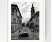 Harris Street, Preston, Large Wall Art Print, Prestonian, Black and White, Urban Print, Cityscape, Iconic, Hackney Carriage, Harris Museum