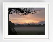 Preston North End, Stunning sunrise over PNE, Misty, Large Wall Art Print, Preston, Prestonian, Colour, PNE, Deepdale, Lancashire, Moor Park