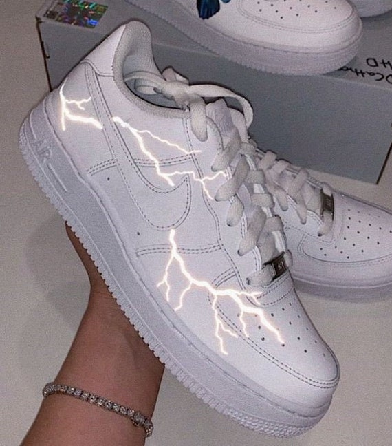 Nike Air Force 1 custom reflective lightning
