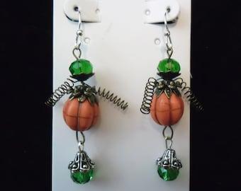 Halloween Steampunk Pumpkin King Earrings - Nickel Free Silver Wire - Turquoise