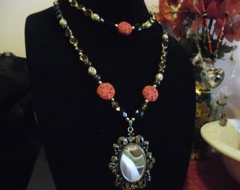 Wicked Queen Magic Mirror Necklace & Earrings w/ Cinnabar, Blood Red Garnet and Onyx Adjustable Length