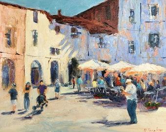 Original oil painting Street Cafe Original Art, Impressionist  Art, Seascape painting,Mediterranean street Living Room Wall Art