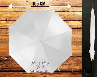 Personalised Custom Printed Mr & Mrs Wedding Bridal Umbrella, Perfect for the Bride/Groom, Weather Protector, Sunshade