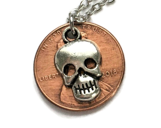 2010-2020 Handmade Lucky Lincoln Penny Necklace with Tibetan Silver Skull - Pennies from Heaven - Birth Year - Gothic - Unisex