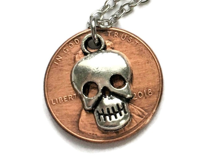 1959-2008 Handmade Lucky Penny with Tibetan Silver Gothic Skull Necklace - Pennies from Heaven - Birth Year Gift Jewelry Pirate Unisex