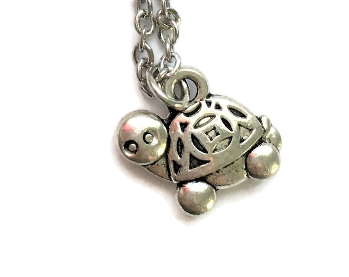 Turtle Tortoise Necklace on Stainless Steel Cable Chain Tibetan Silver Ocean Sea Handmade Nautical Reptile Animal Water Charm Pendant