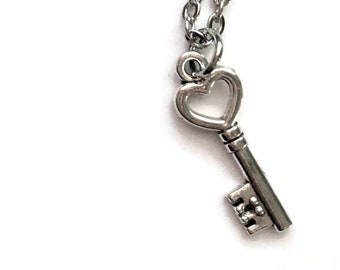 "Heart Skeleton Key Necklace Charm on Stainless Steel 18"" Cable Chain Tibetan Silver Jewelry - Key to my Heart"
